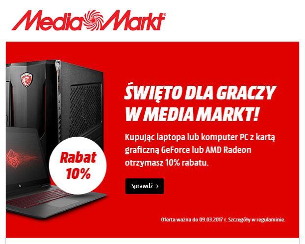 Rabat 10% na zakup laptopa lub komputera PC @MediaMarkt