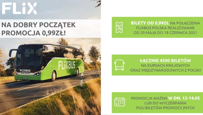 Bilety za 0.99zł (krajowe i zagraniczne) - Flixbus