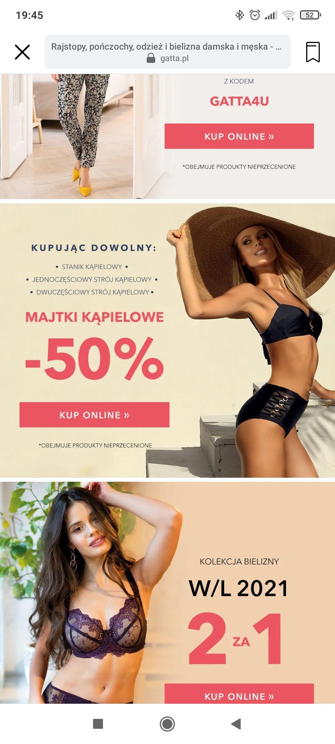 -50% na majtki kąpielowe Gatta przy zakupie dowolnego stanika kąpielowego, dwuczęściowego lub jednoczęściowego stroju