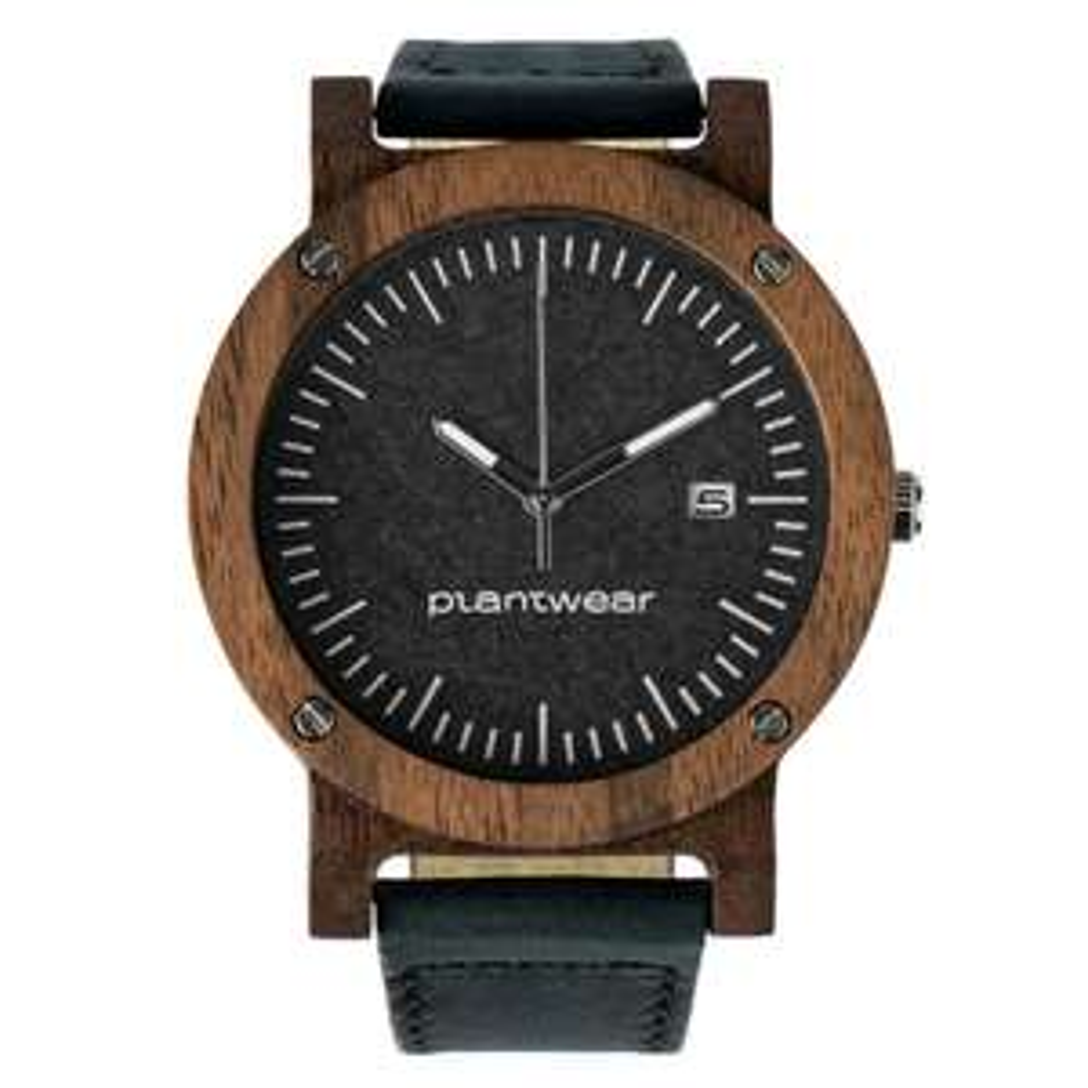 Drewniany zegarek Seria Raw – Palisander – Skórzany Pasek