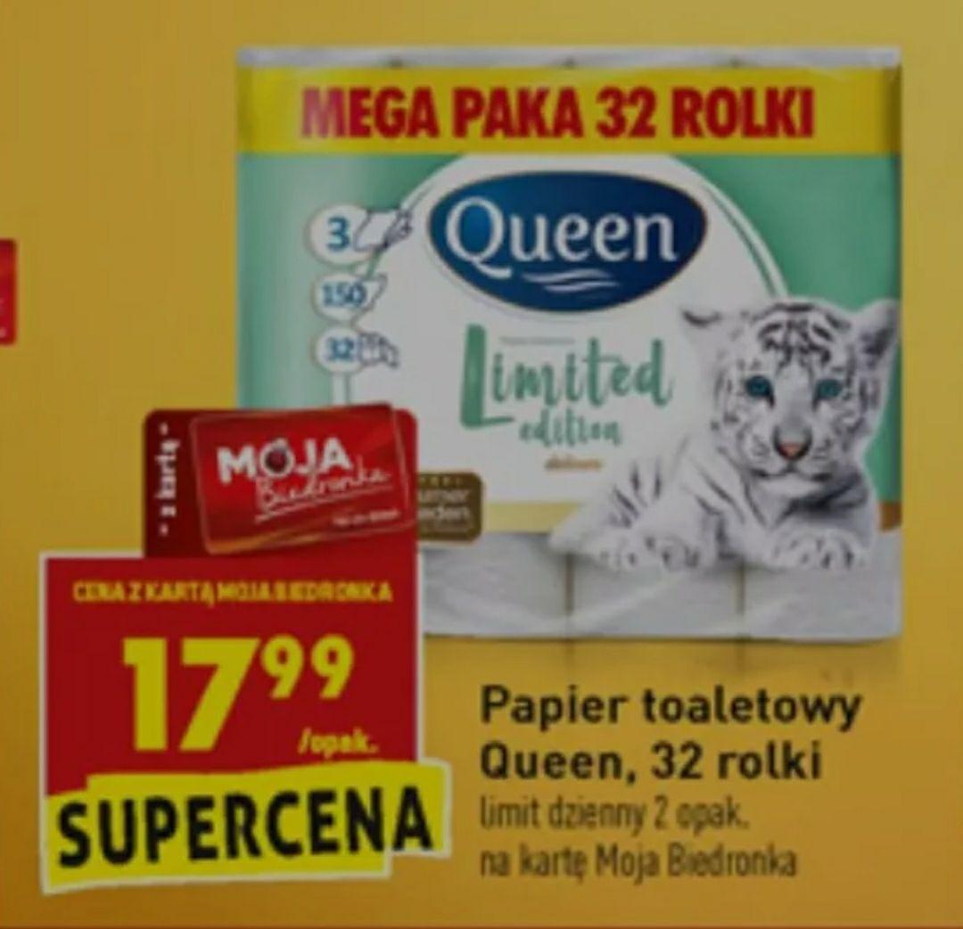 Papier toaletowy Queen, 32 rolki, 3 warstwy @Biedronka