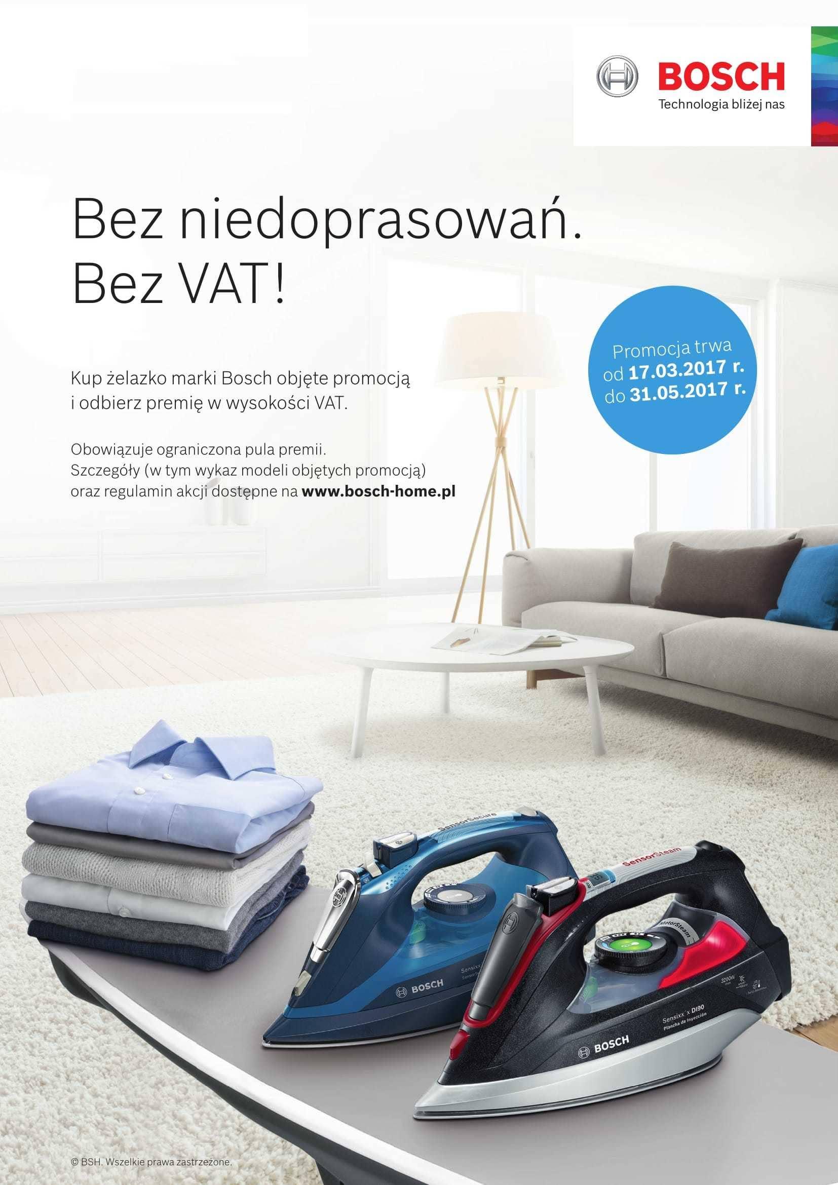 [CASHBACK] Zwrot podatku VAT przy zakupie wybranych żelazek @ Bosch