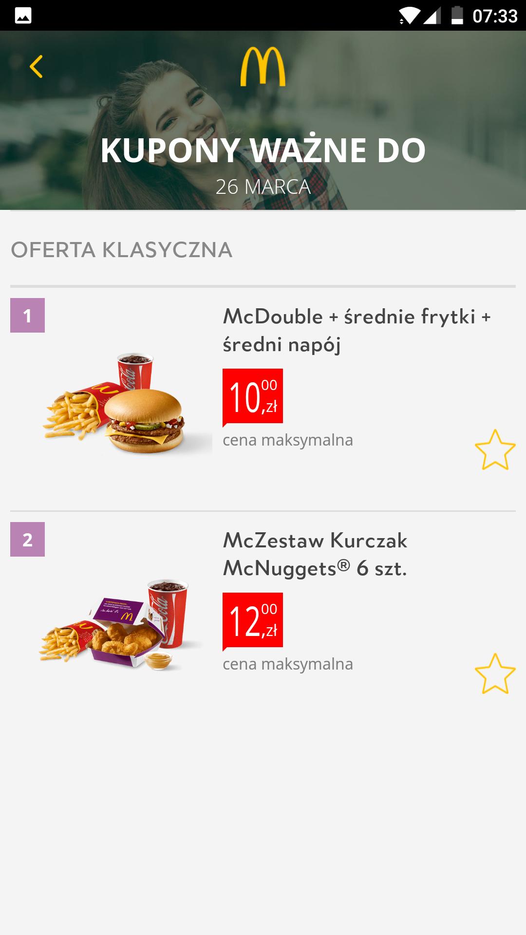 Dwa kupony McDonald's