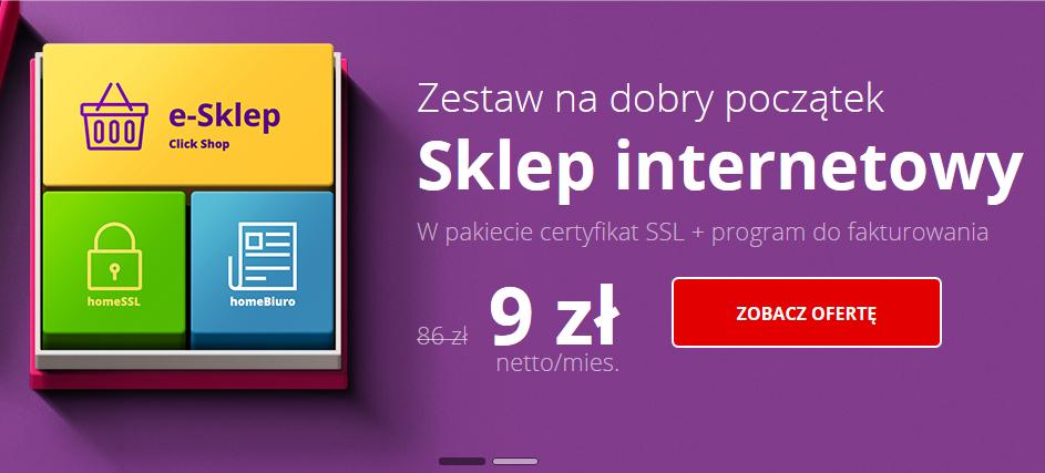 Sklep internetowy home.pl 9zł/mc zamiast 86zł. (HTTPS) gratis.