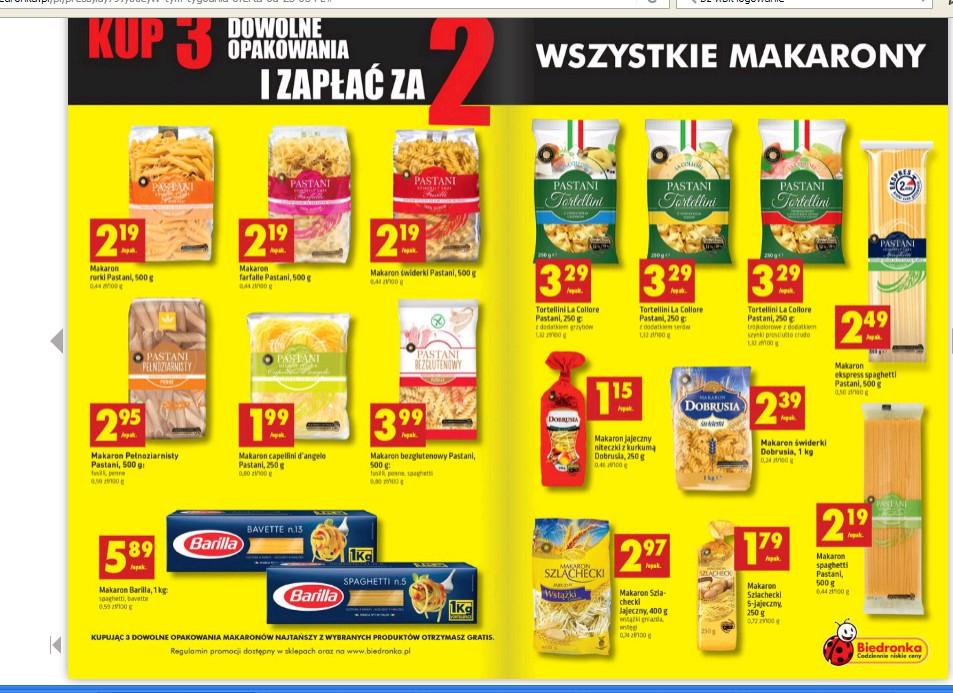 Kup 3 zapłać za 2 produkty - wszystke makarony - Biedronka