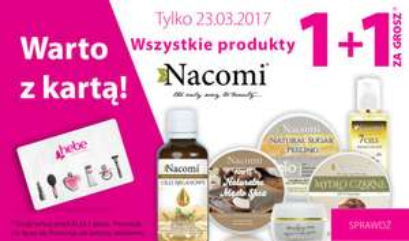 Wszystkie produkty Nacomi - 1+1 za GROSZ (DZIŚ) @ Hebe