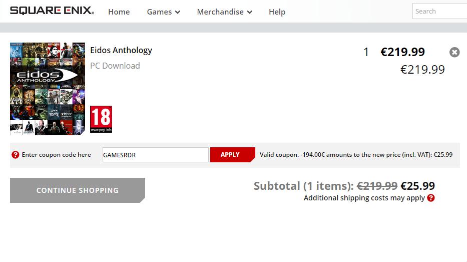 Eidos Anthology (34 gry, min. Tomb Raider (seria), Hitman (seria), Thief (seria) i inne) za 112zł, czyli ponad 800zł taniej!! @ Square Enix
