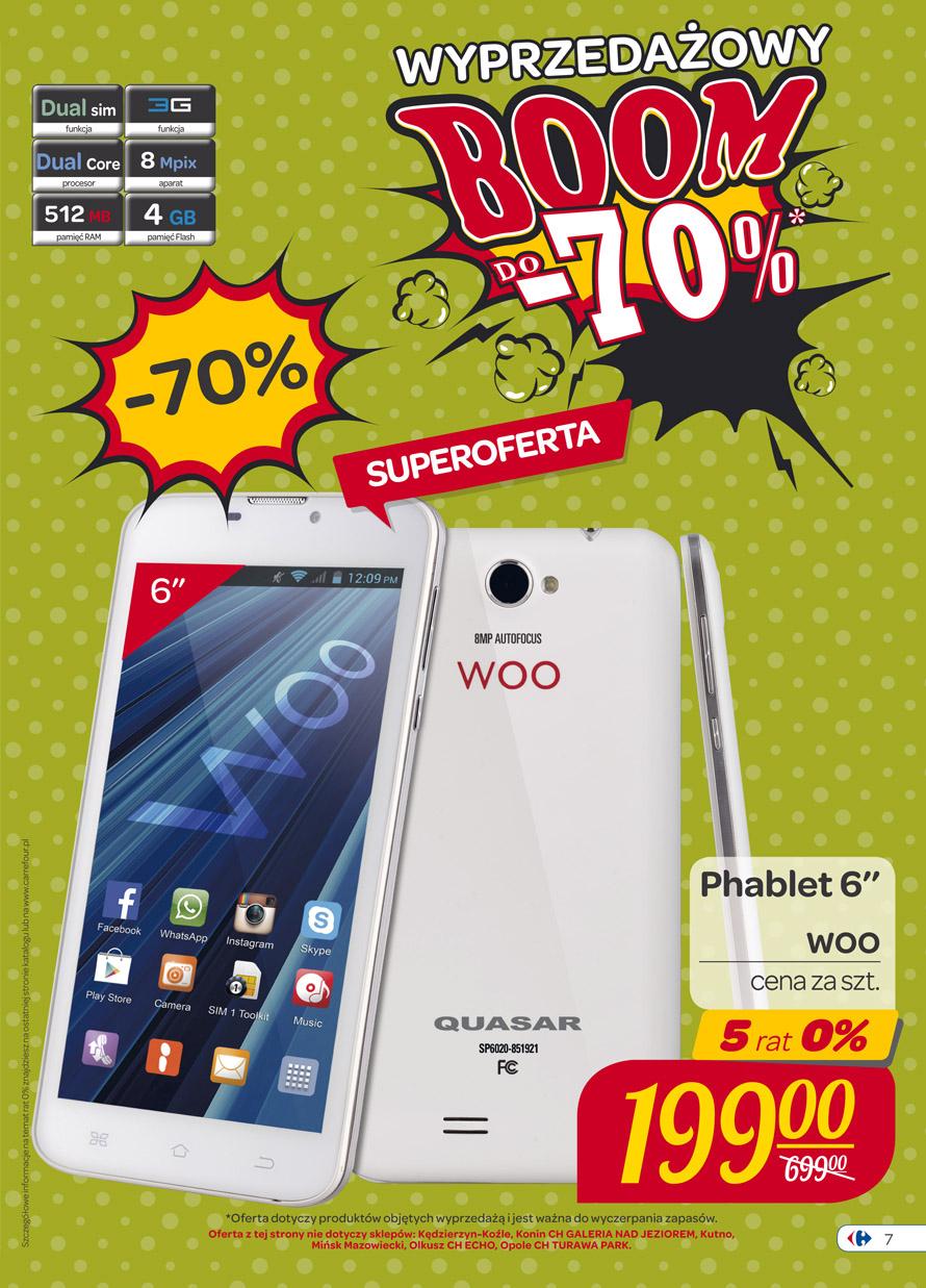 Phablet 6' Woo Quasar 70% taniej! @ Carrefour