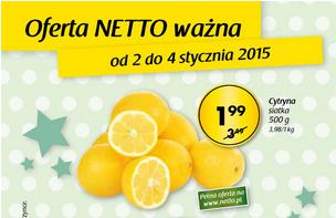 Cytryny siatka  0,5 kg za 1,99 zł @ Netto
