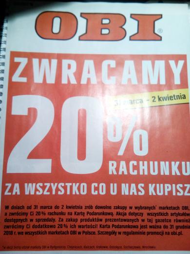 Obi zwraca 20% za KAZDY zakup