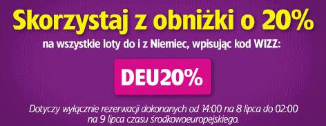 Zniżka na loty do Niemiec @ Wizz Air