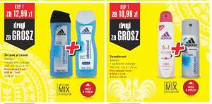 Żel pod prysznic Adidas 400ml-6.5zl/Dezodorant Adidas 150ml-5.5zł/Woda Ustronianka-1zł/Czekolada Milka-2.19zl od 30 marca@Intermarche