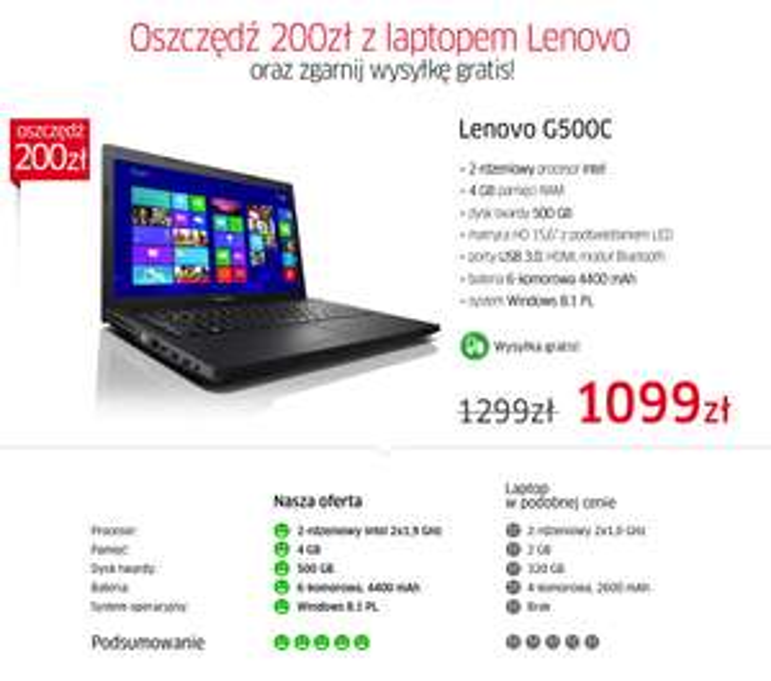Laptop Lenovo G500C(15,6LED,2 rdzenie,4GB ram, 500Gb dysk, WINDOWS 8!) za 1099zł z wysyłką! @ X-kom