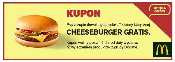 Darmowy Cheesburger w McDonald's za wypełnienie ankiety