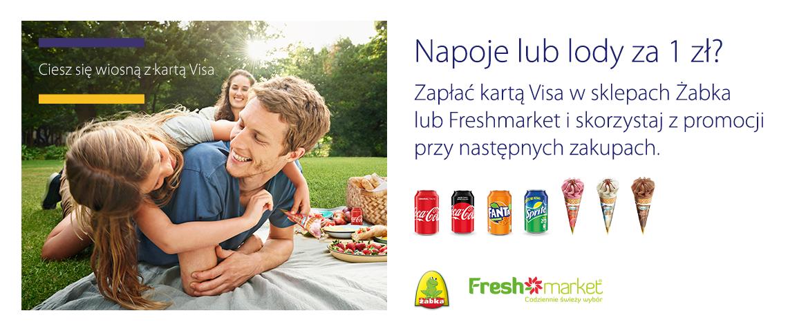 Kupon na napoje lub lody za 1zł za płatność kartą Visa w sklepach Żabka lub Freshmarket
