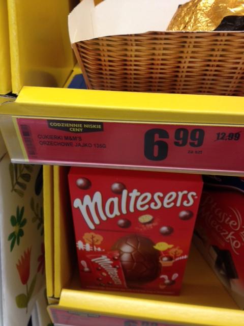 Czekoladowe jaja (Maltesers, Mars) przecenione o 6zł @ Biedronka