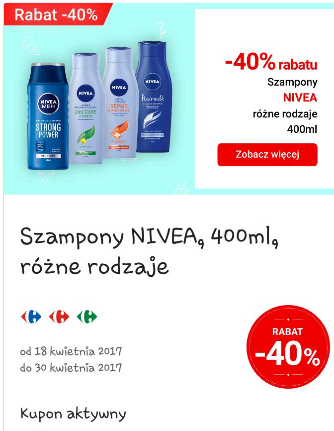 Szampony Nivea 400ml -40%, produkty Bobobita-20%, Ketchup Międzychód 430g -2.69zł w aplikacji mobilnej@Carrefour