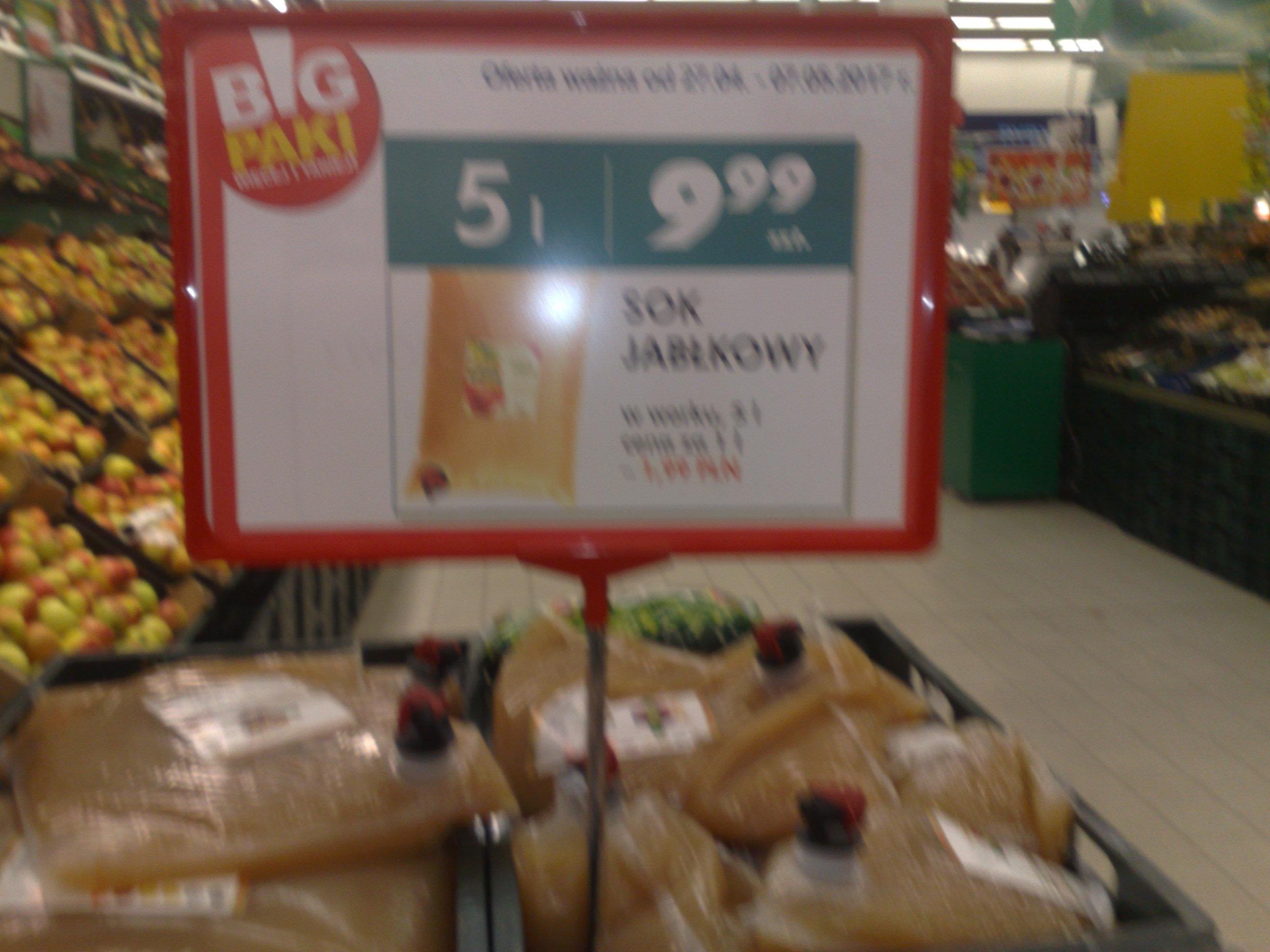Sok jabłkowy - 5 litrów BIG PAKI - 9,99 zł   Auchan
