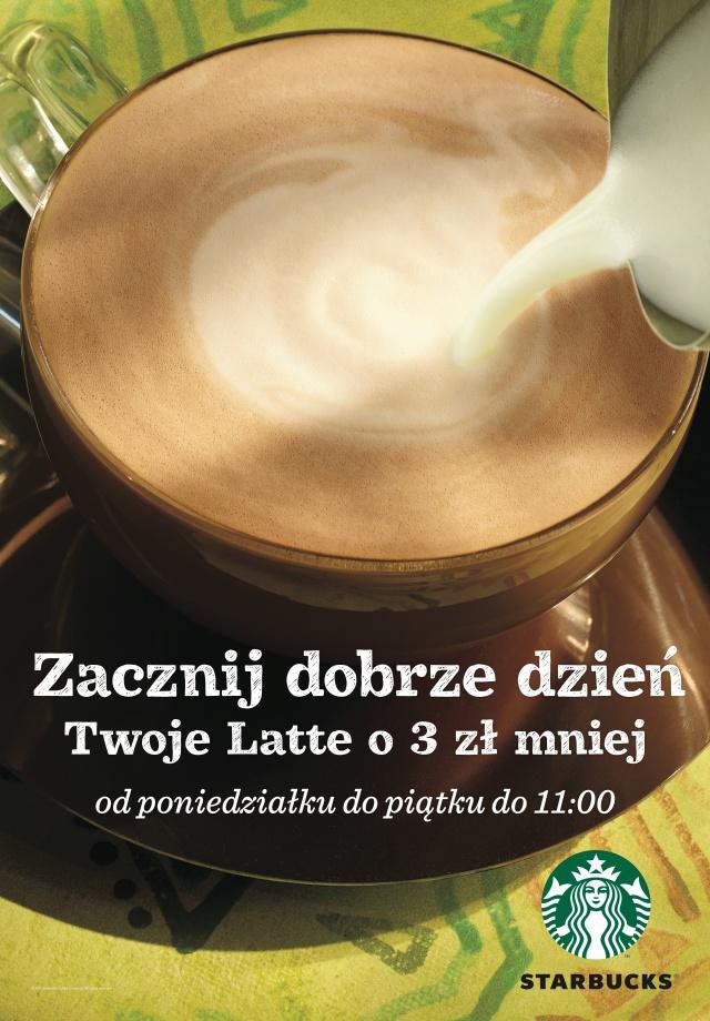 Kawa LATTE 3zł taniej @ Starbucks