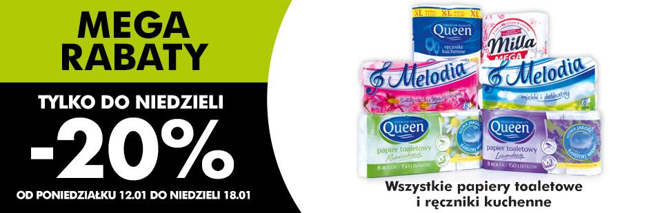 Wszystkie papiery toaletowe i ręczniki papierowe -20% @ Biedronka