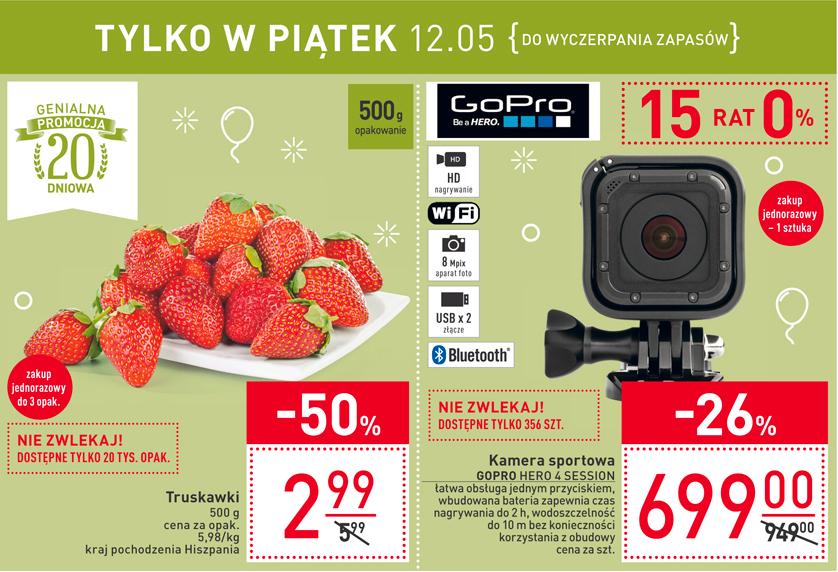 Kamera sportowa GOPRO HERO 4 SESSION oraz truskawki 500g Carrefour piątek 12.05