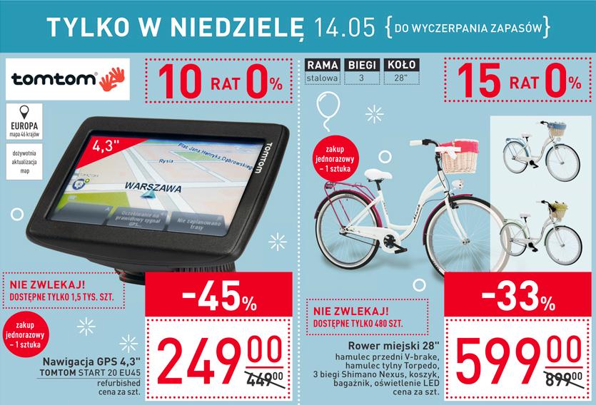 """Nawigacja GPS 4.3"""" TomTom Start 20 EU45 oraz rower miejski 28"""" Carrefour niedziela 14.05"""
