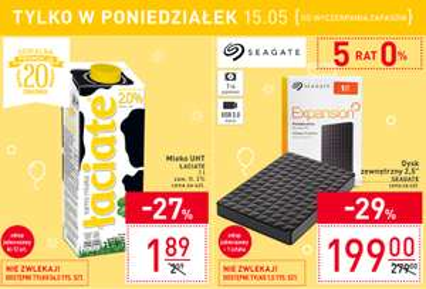 """Dysk zewnętrzny 2.5"""" Seagate Expansion 1TB i mleko Łaciate Carrefour poniedziałek 15.05"""