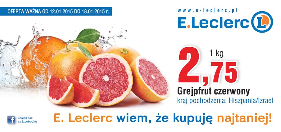 Grejpfruty czerwone w cenie 2,75/1kg @ E.Leclrec