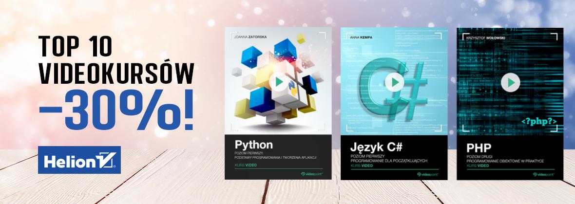 Top10 videokursów -30%. Python, C#, PHP i więcej @ Helion