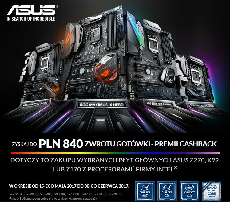 @asus Cashback do 840zł przy zakupie wybranych modeli płyt głównych z procesorami Intel