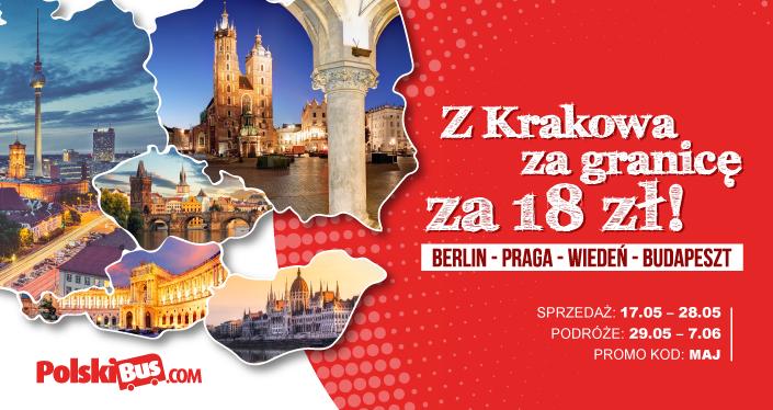 PolskiBus z Krakowa do Berlina, Pragi, Wiednia, Budapesztu za 18+1zł