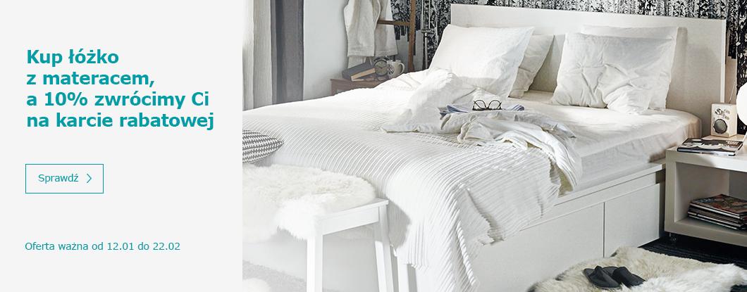 10% rabatu przy zakupie łóżka z materacem lub mebli łazienkowych @ Ikea