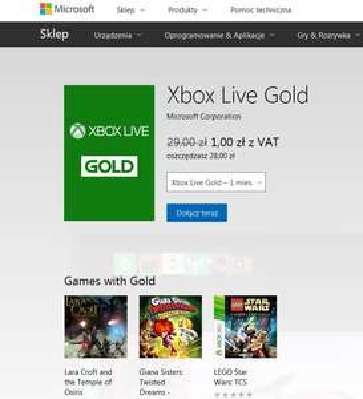 XBOX LIVE GOLD 1 zł na miesiąc