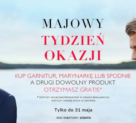 Przy zakupie garnituru,marynarki lub spodni drugi produkt gratis (np. dwa garnitury za 999zł) @ Vistula