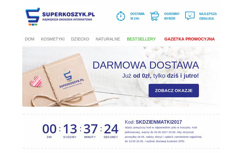 Darmowa Dostawa kurierem DPD od 0 zł na Superkoszyk.pl