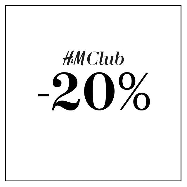 -20% dla członków H&M CLUB (stacjonarne i online + darmowa dostawa)