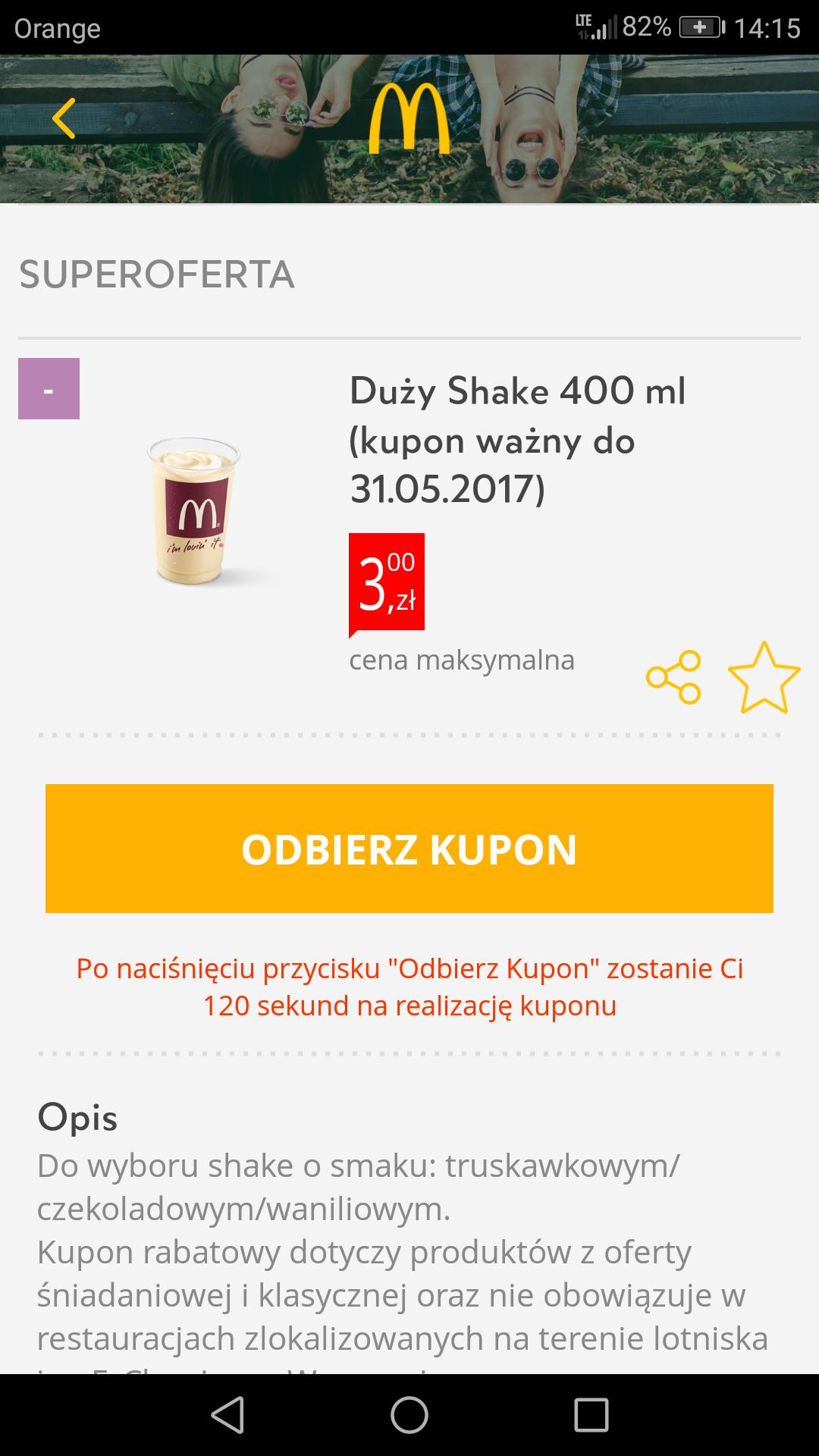 Duży shake lub średnie frytki w McDonald's za 3 zł do 31 maja