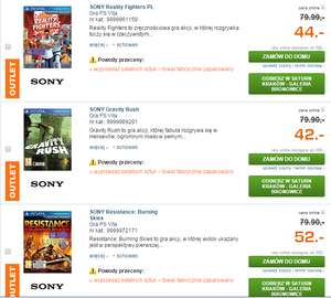Gry na Playstation Vita od 42zł (Resistance, Gravity Rush, Reality Fighters oraz Army Corps of Hell) @ Saturn