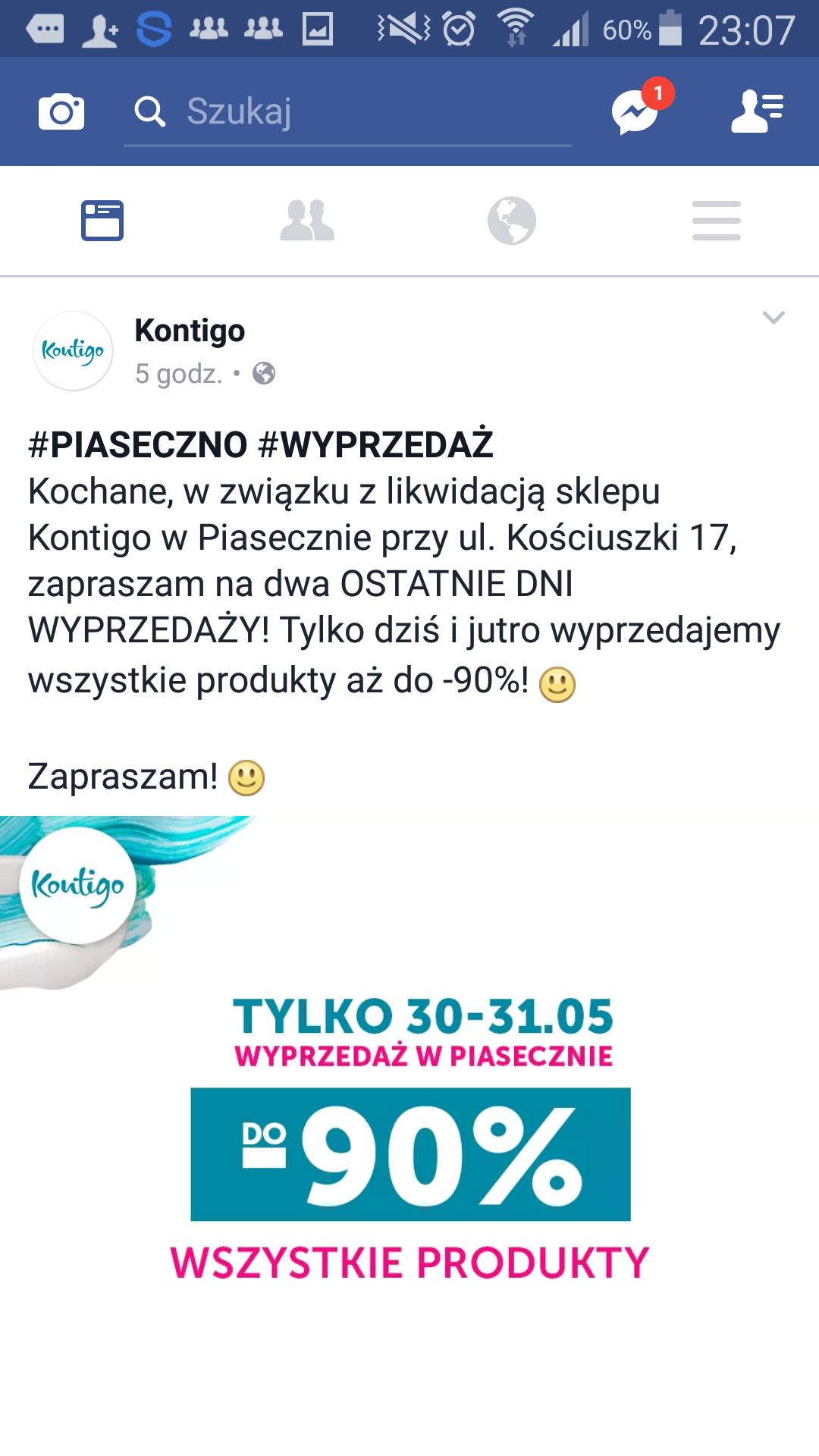 Kontigo do -90% Piaseczno (likwidacja)