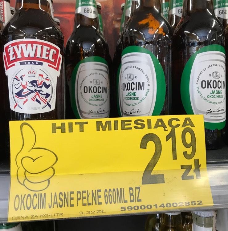 Promocja lewiatan , piwo Okocim 0,66 l . Butelka bezzwrotna