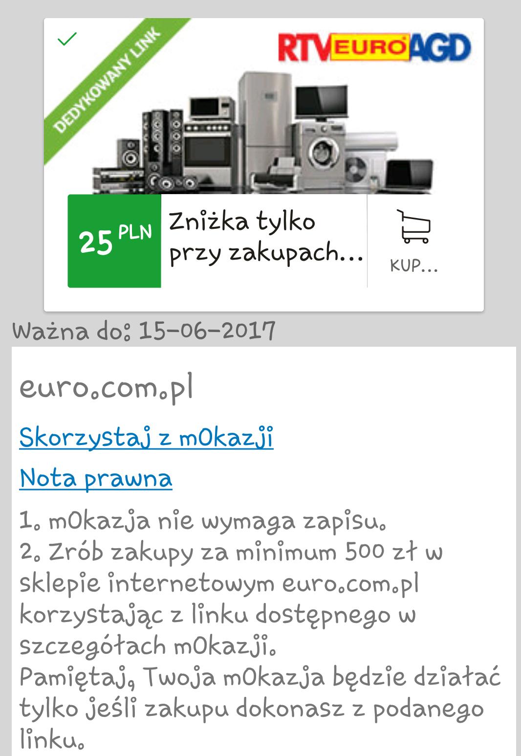 Mokazja: 25zł zwrotu w sklepie euro.com.pl@mBank