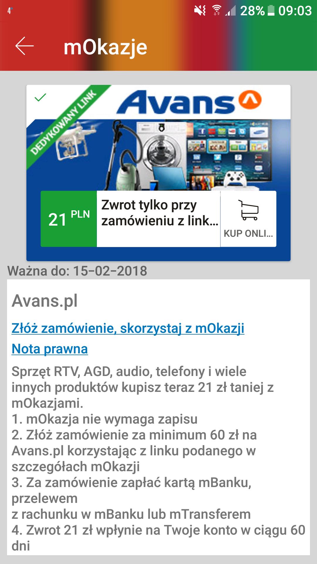 Zwrot 21zł za zakup w Avans.pl @mOkazja mBank