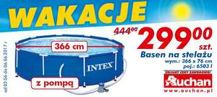 Basen ze stelażem Intex 366x76cm (pojemność 6500l) + pompa za 299zł @ Auchan