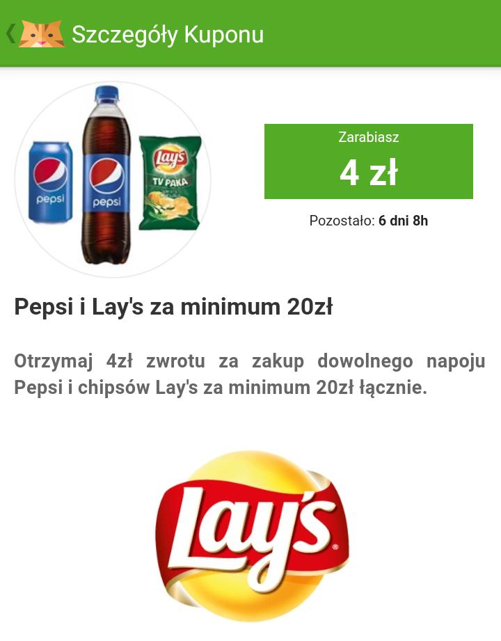 4 zł zwrotu za zakup Pepsi i Lays za 20 zł na jednym paragonie. @ŻBIK