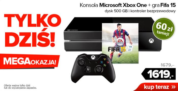 TYLKO DZISIAJ! Konsola Xbox One + gra FIFA 15 za 1619 zł @ Agito