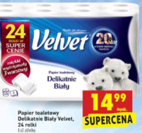 Papier toaletowy Velvet 3 warstwowy 24 rolki BIEDRONKA
