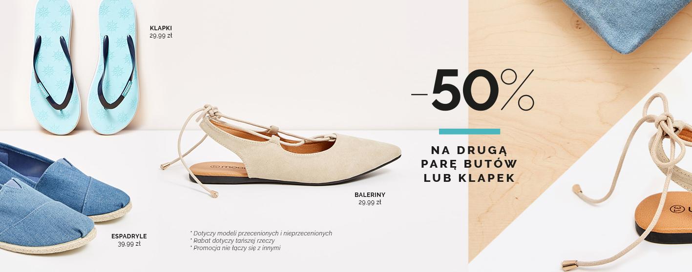 -50% na drugą parę butów @ Moodo