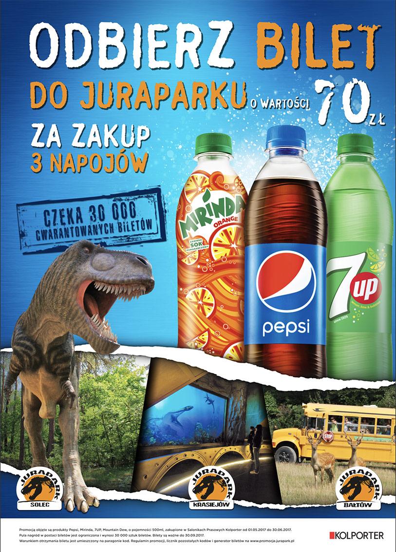 Bilety do Juraparków za zakup Pepsi w sieci Kolporter