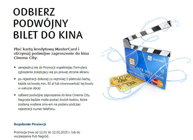 podwójny bilet do kina za płatności kartą MasterCard @ PKO BP