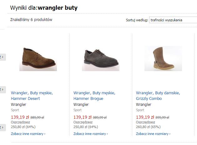 Buty męskie oraz damskie Wrangler -64% taniej @ Empik